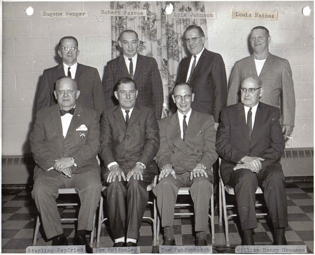 Sitting Left to Right: Sterling Seyfried, Tom Bottomley, Tom VandenBosch, William Henry Groomes. Standing Left to Right: Eugene Wenger, Robert Pascoe, Lyle Johnson, Lewis Haines.